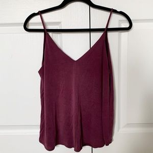 Aritzia Talula dark pink/purple v neck tank top